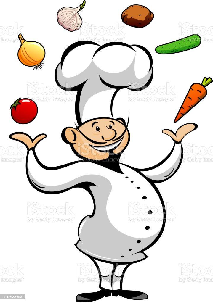 Cartoon chef juggling fresh vegetables vector art illustration