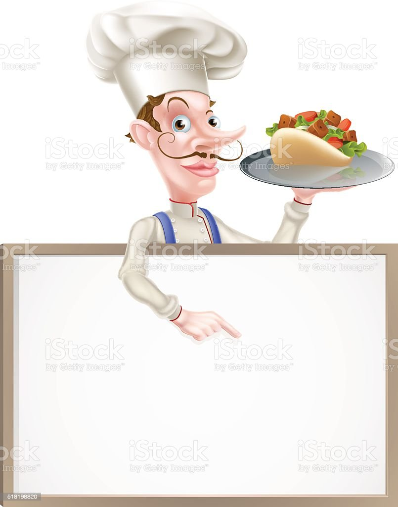 Cartoon Chef Kebab Sign vector art illustration