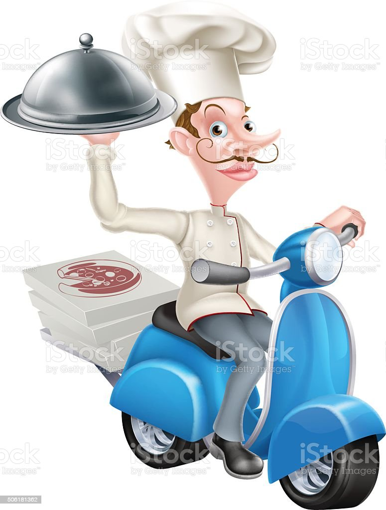 Cartoon Chef on Scooter Moped Delivering Food vector art illustration