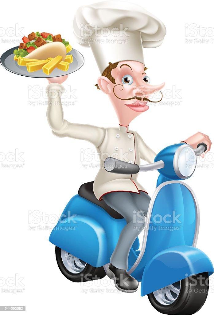 Cartoon Chef on Scooter Moped Holding Kebab vector art illustration