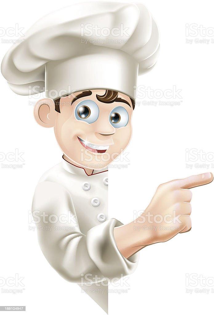 Cartoon Chef Pointing at Sign royalty-free stock vector art