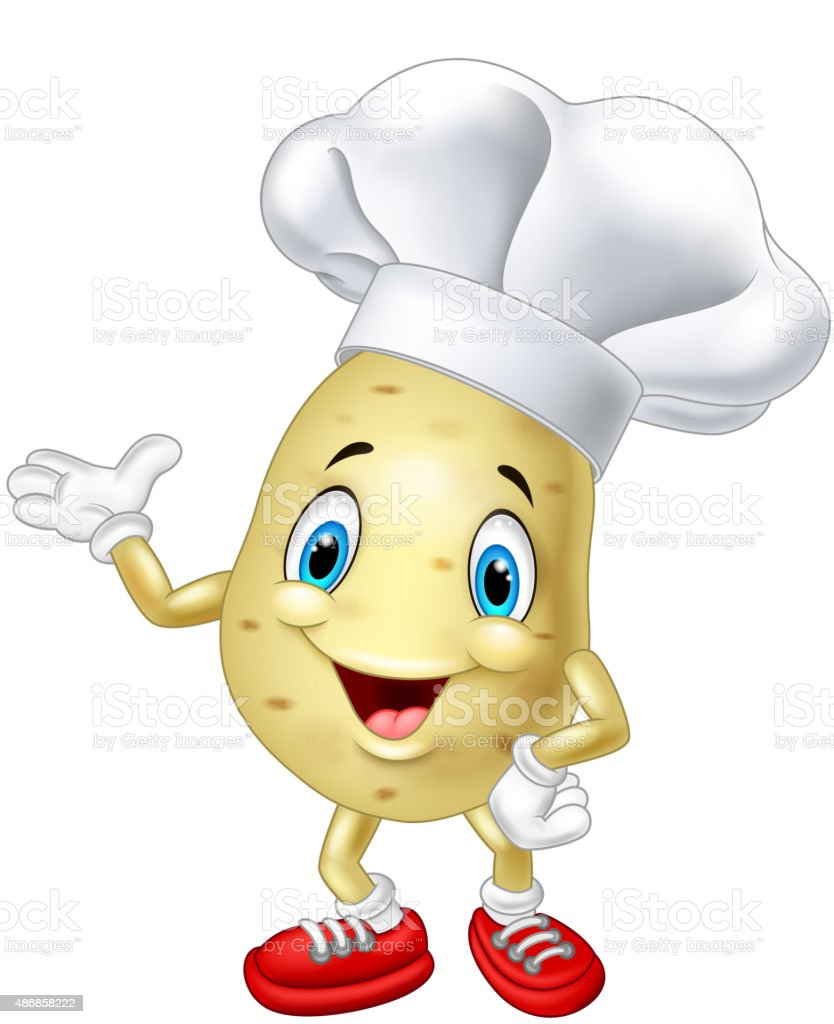 Cartoon chef potato waving hand vector art illustration