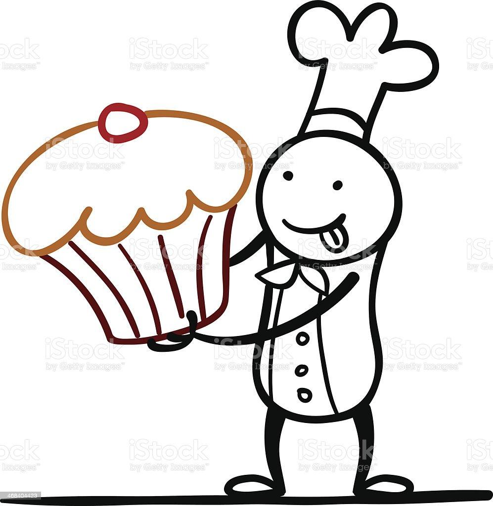Cartoon chef with a big cake vector art illustration