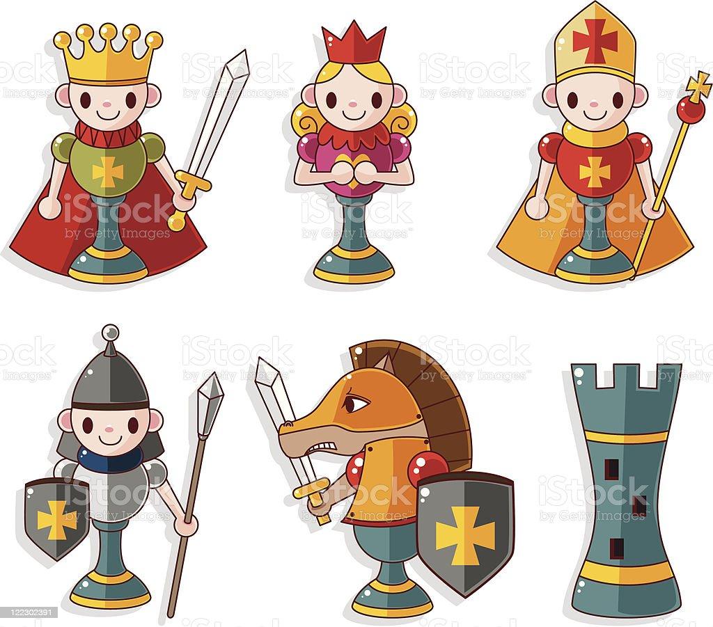 cartoon Chess icons set vector art illustration