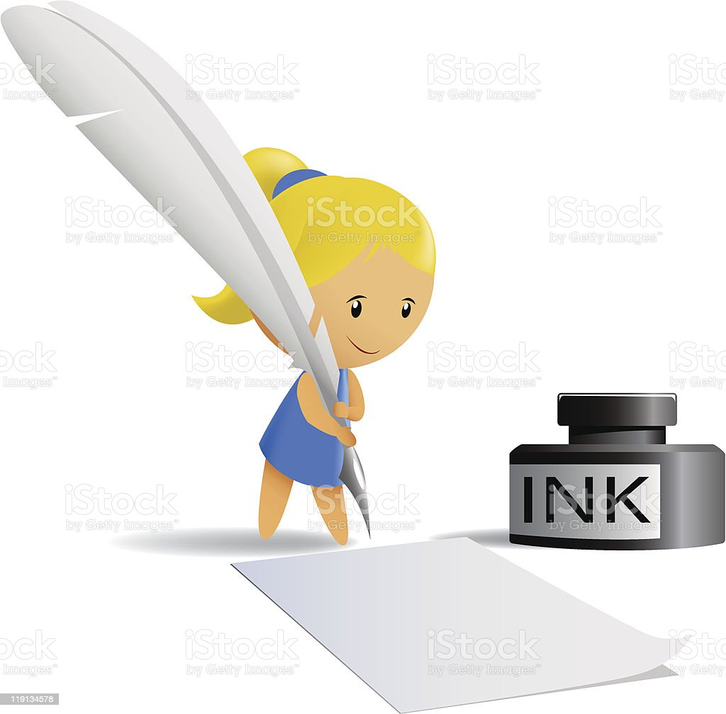 Cartoon chibi girl write by feather pen royalty-free stock vector art