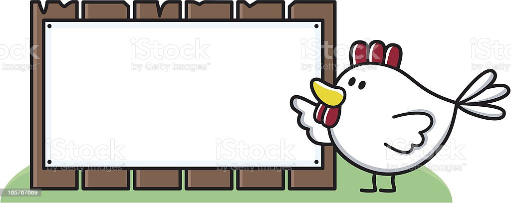 cartoon chicken points to blank sign for your text royalty-free stock vector art