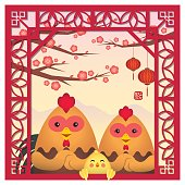 Cartoon chickens celebrate CNY