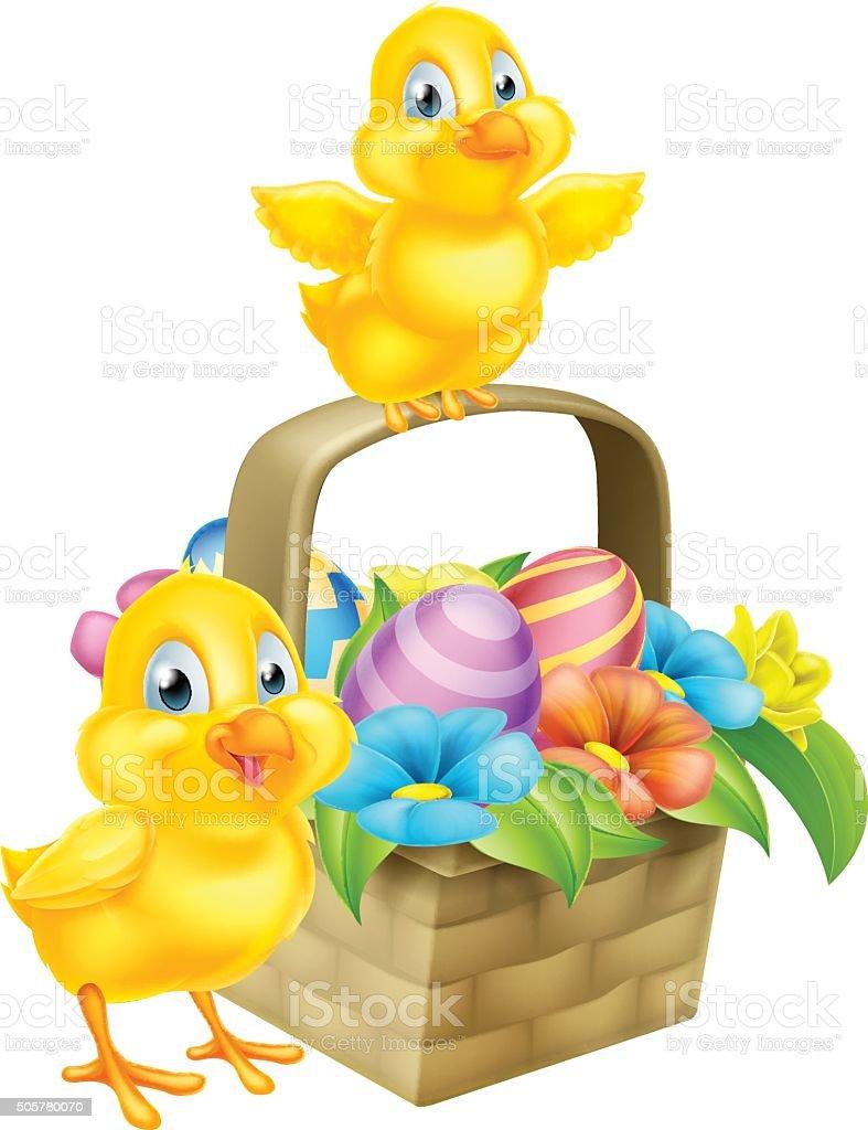 Cartoon Chicks and Easter Eggs Basket vector art illustration
