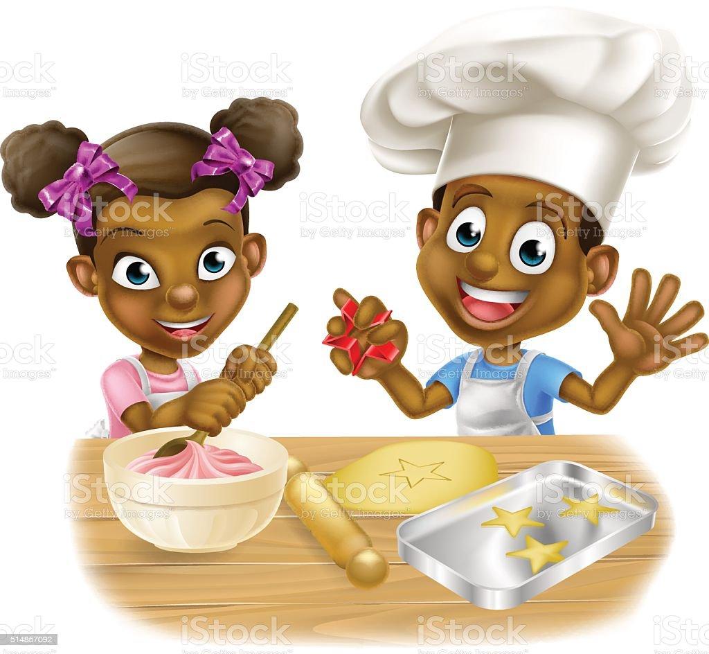 Cartoon Children Bakers vector art illustration