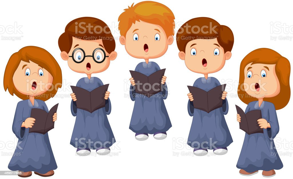 Cartoon Children choir vector art illustration