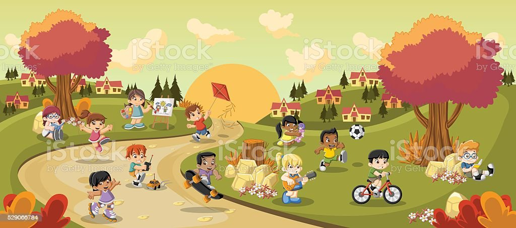 cartoon children playing vector art illustration