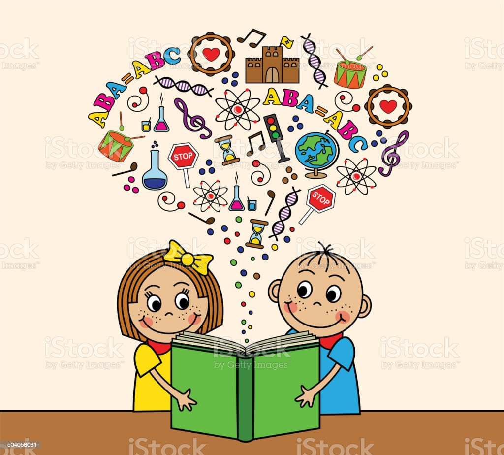 Cartoon children read a book vector art illustration