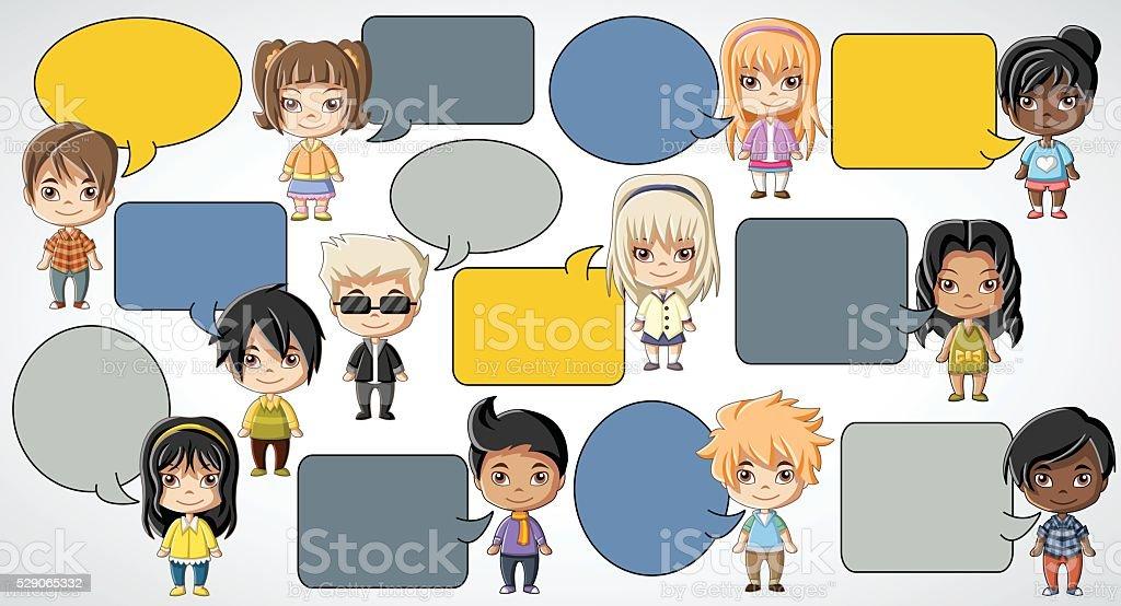 cartoon children talking. vector art illustration