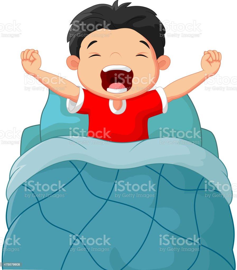Cartoon children wake up vector art illustration