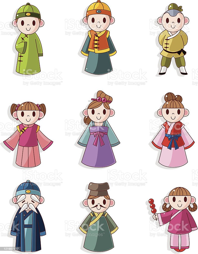 cartoon Chinese people icons set royalty-free stock vector art