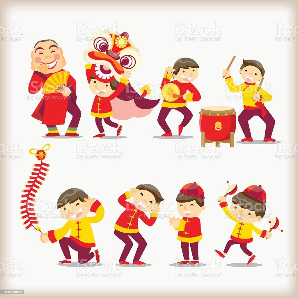 Cartoon Chinese people vector art illustration