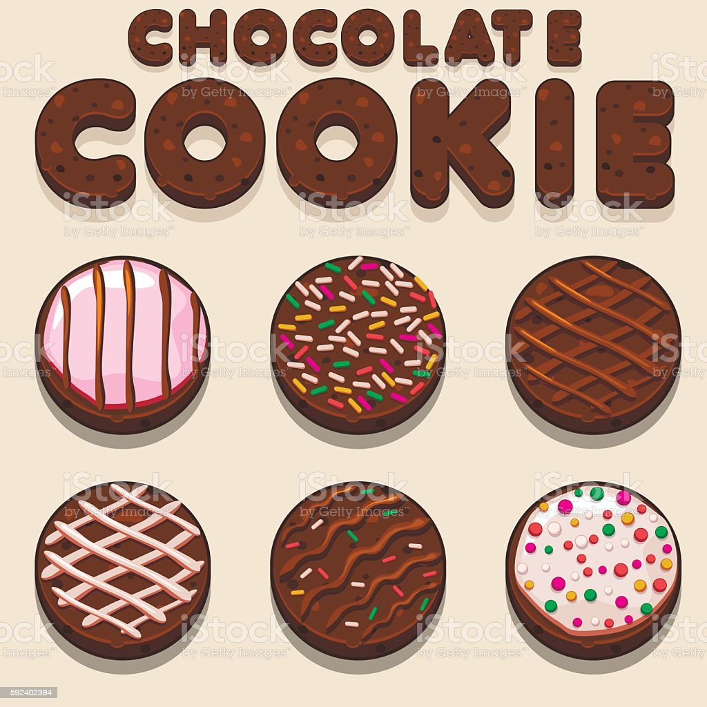 Cartoon Chocolate cookie, biskvit vector food letters vector art illustration