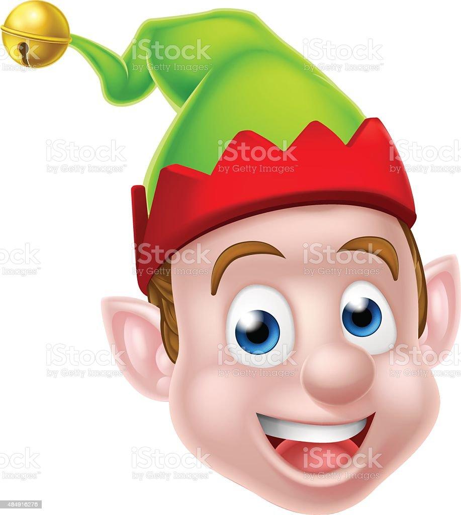 Cartoon Christmas Elf Face vector art illustration