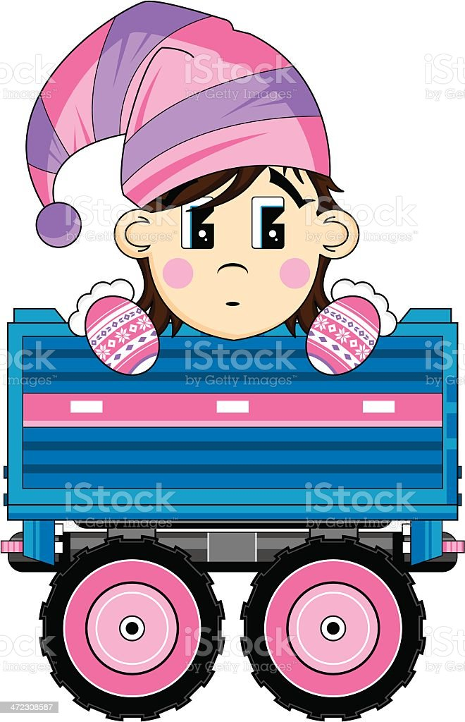 Cartoon Christmas Elf in Trailer royalty-free stock vector art