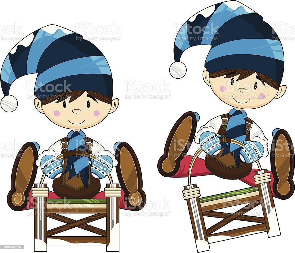 Cartoon Christmas Elf on Sledge royalty-free stock vector art