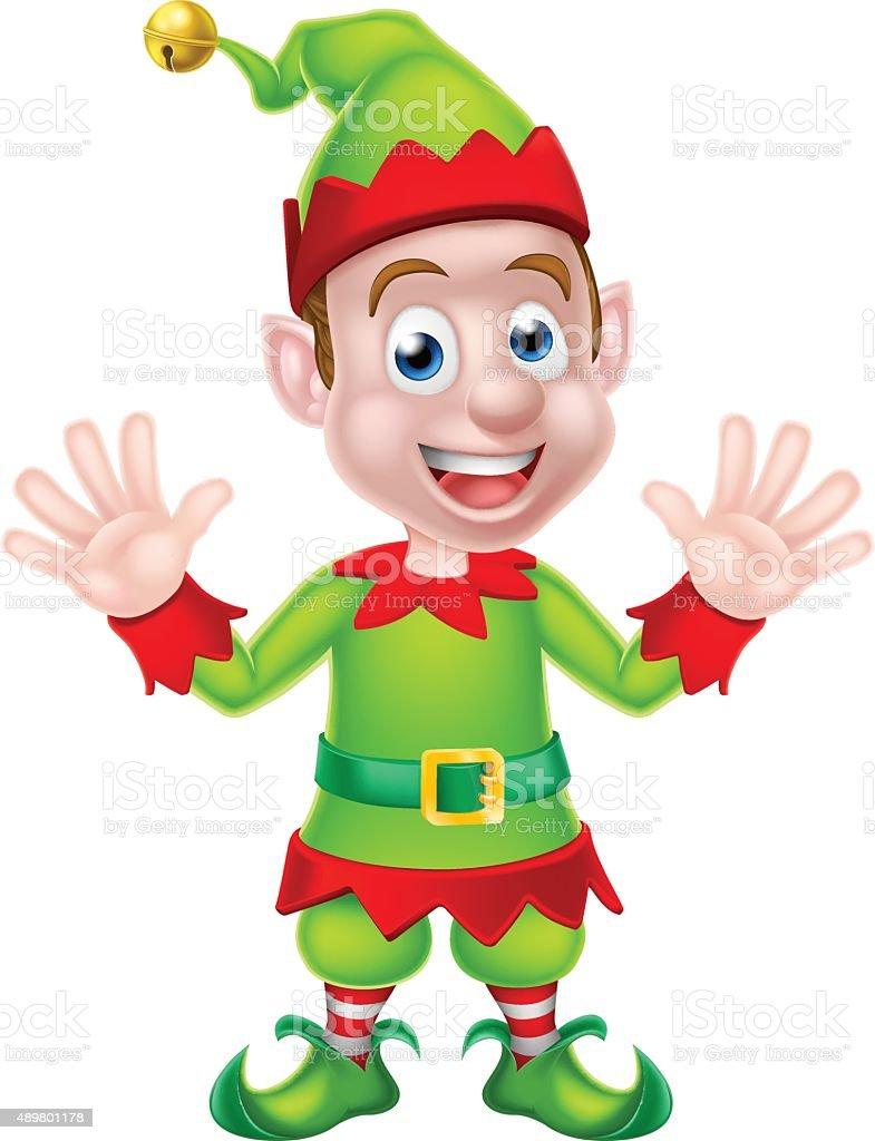 Cartoon Christmas Elf Waving vector art illustration