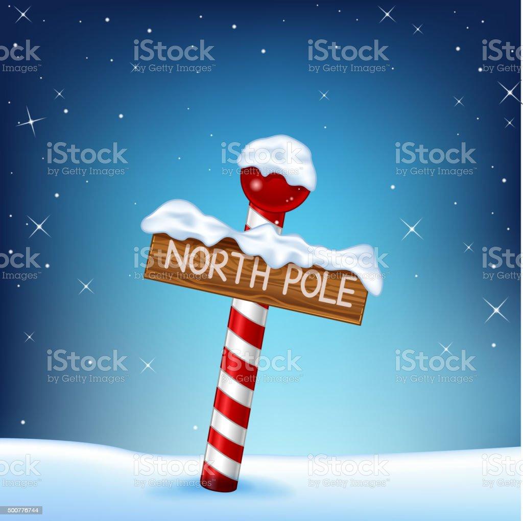 Cartoon Christmas of north pole wooden sign vector art illustration