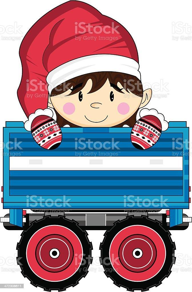 Cartoon Christmas Santa Elf in Trailer royalty-free stock vector art