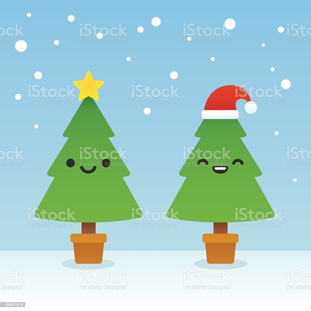 Cartoon Christmas trees vector art illustration