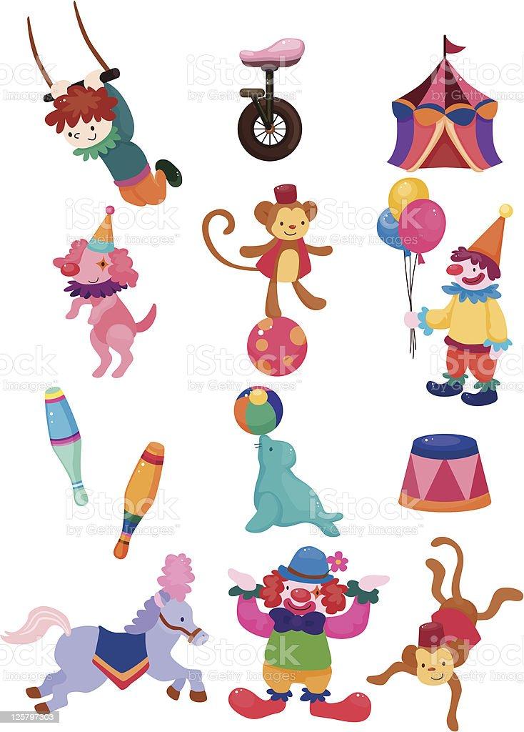cartoon circus icons set royalty-free stock vector art