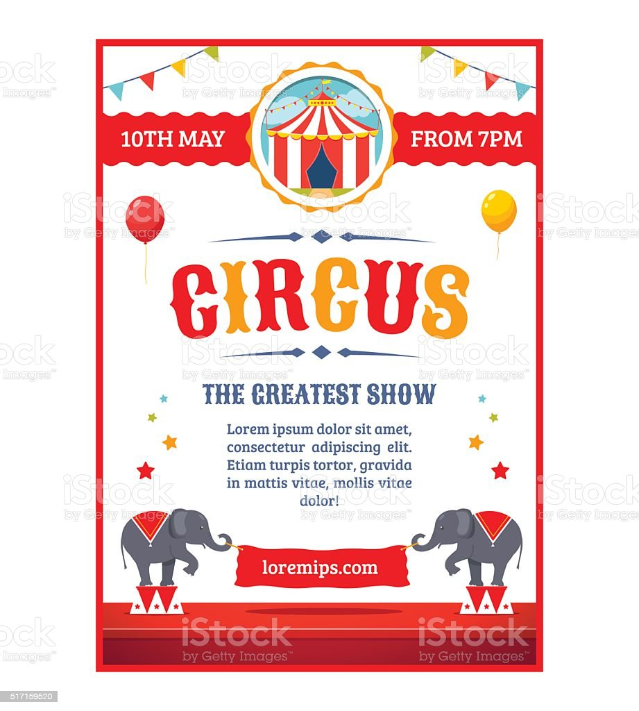Cartoon circus poster vector art illustration