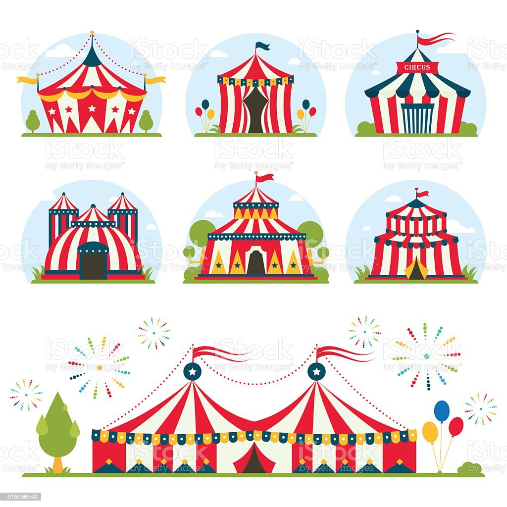 cartoon circus tent with stripes and flags isolated.  Ideal for vector art illustration