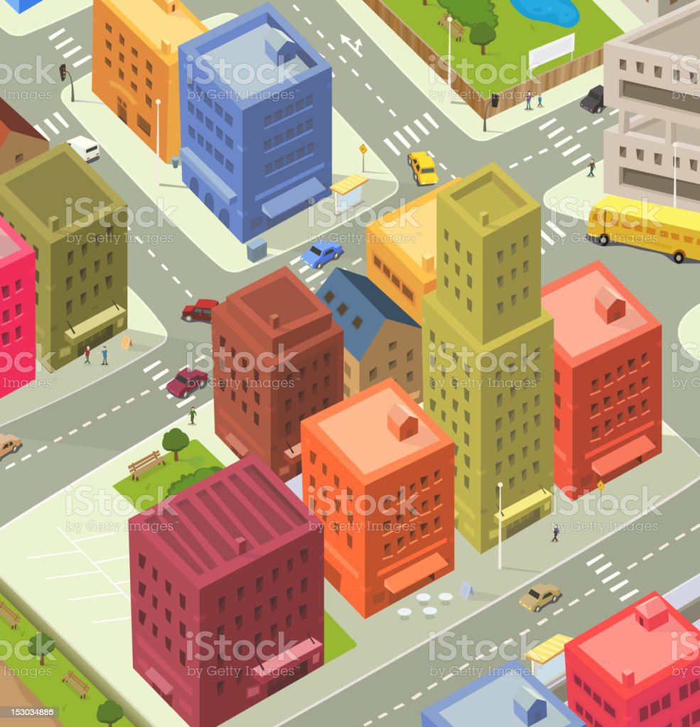 Cartoon City Aerial View royalty-free stock vector art