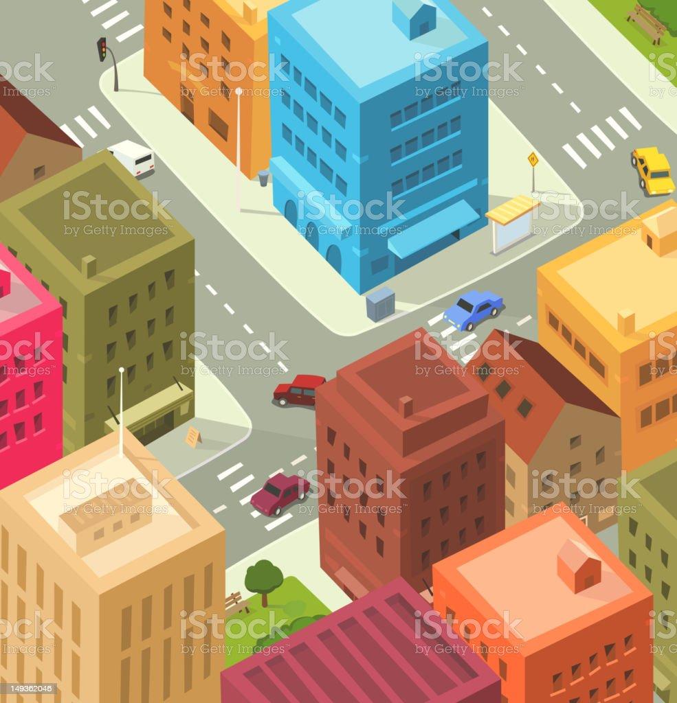 Cartoon City - Downtown royalty-free stock vector art