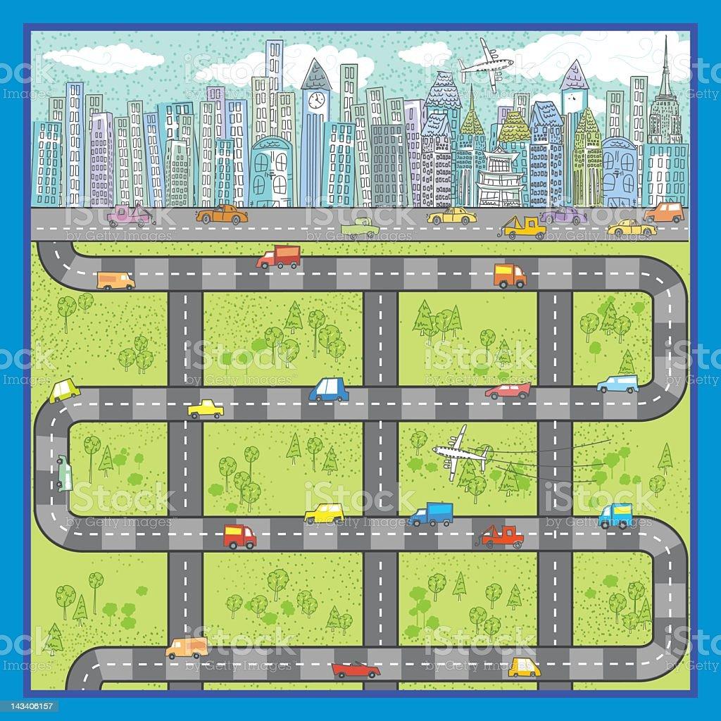 Cartoon City Roads Illustration royalty-free stock vector art