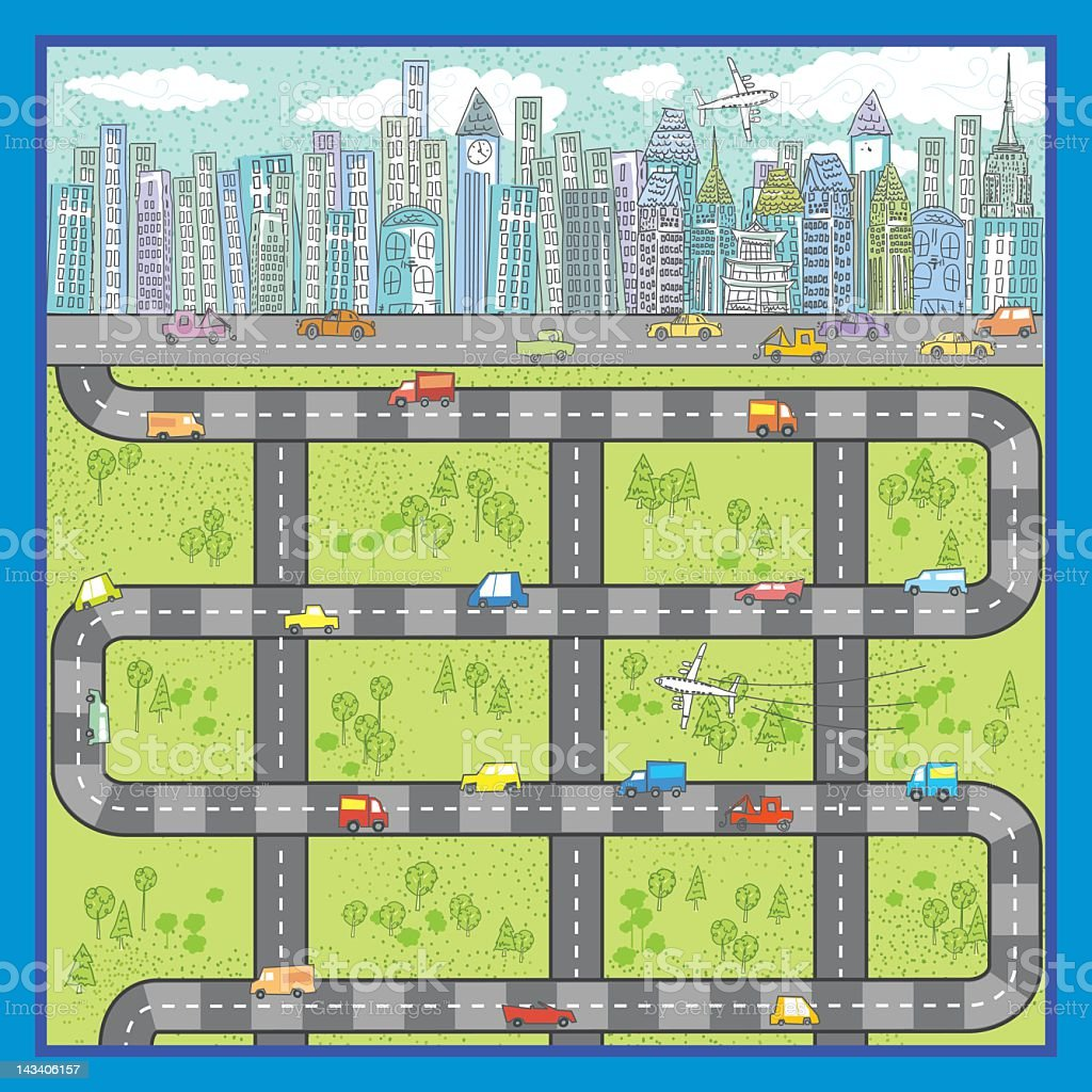 Cartoon City Roads Illustration stock photo
