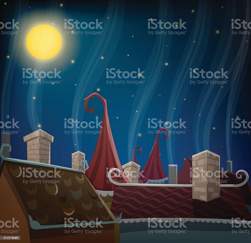 Cartoon city roofs at night vector art illustration
