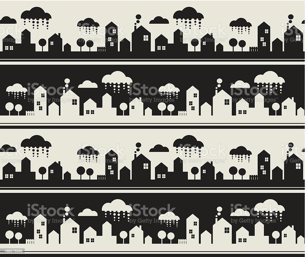 Cartoon city seamless pattern. vector art illustration