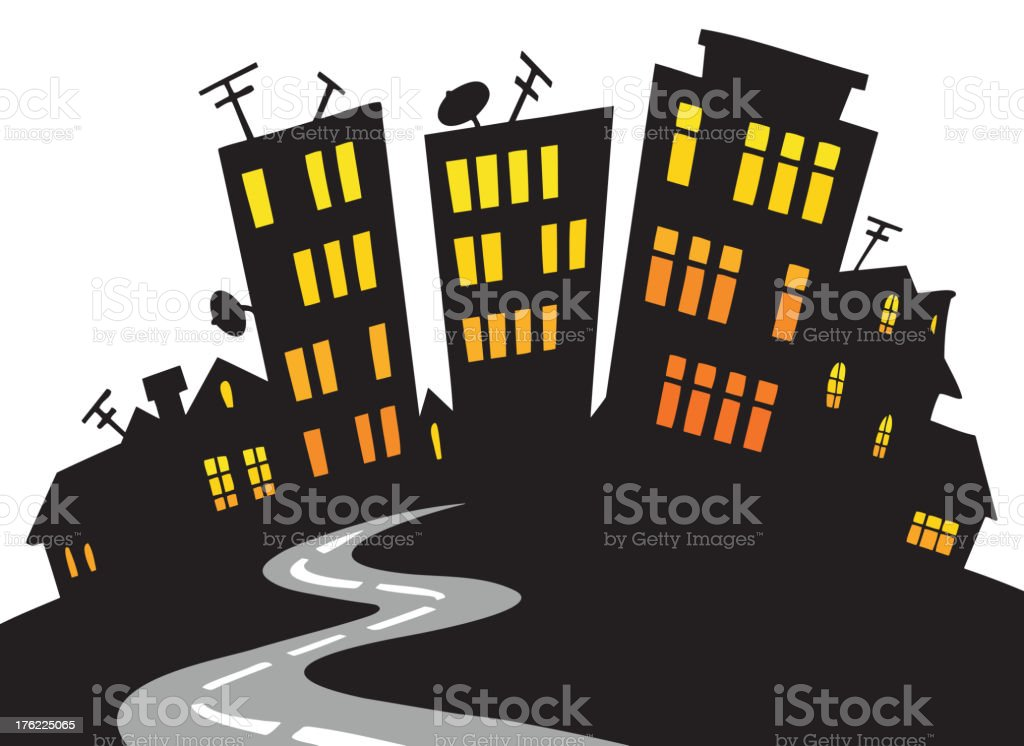 Cartoon city skyline royalty-free stock vector art