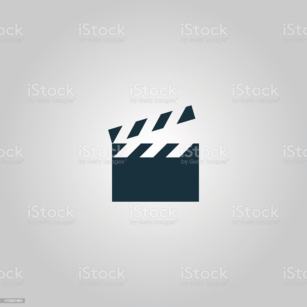 A cartoon clapboard with the top up on a gray background vector art illustration