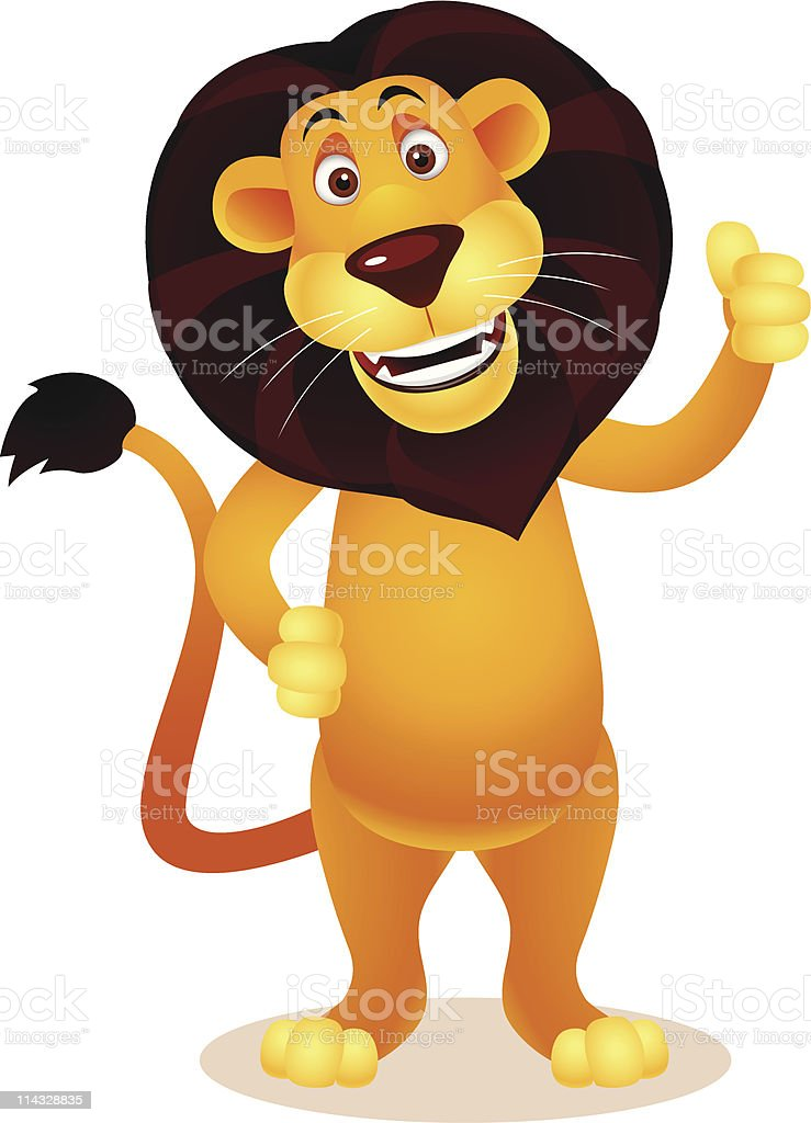 Cartoon Clip Art Of Lion Standing Up And Giving A Thumbs Up stock ...