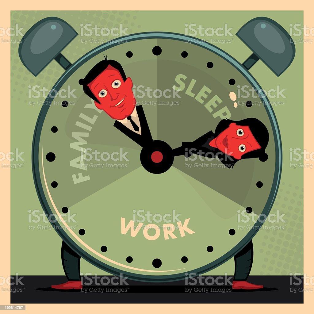 Cartoon clock demonstrating daily routine vector art illustration