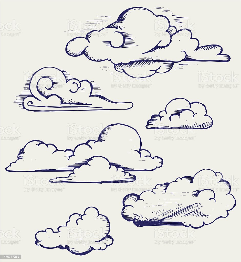 Cartoon cloud drawings on a white sheet of paper vector art illustration