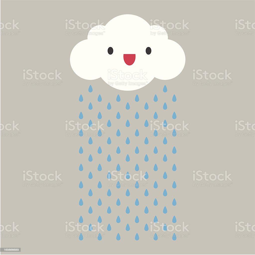 A cartoon cloud raining with face vector art illustration