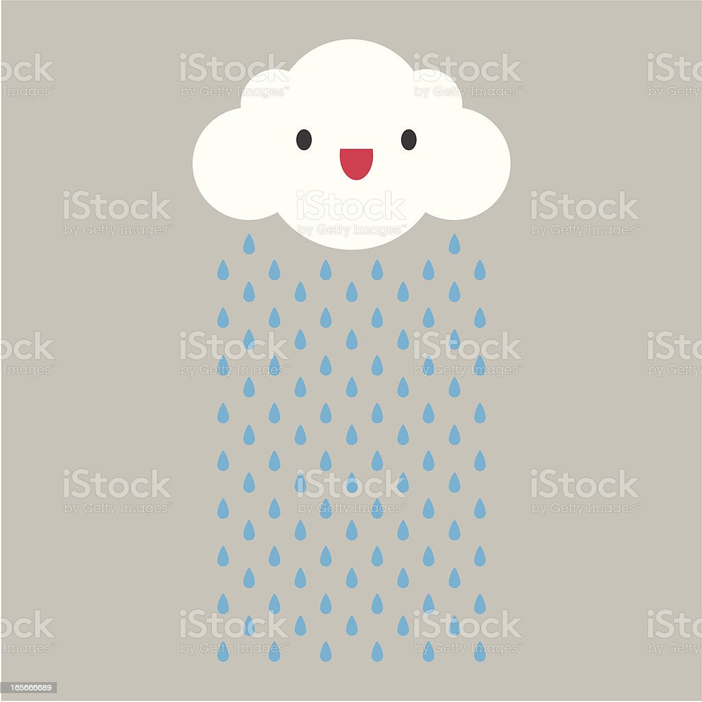 A cartoon cloud raining with face vector art illustration