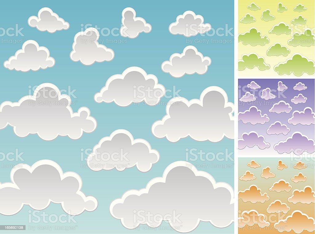 Cartoon Cloud Set vector art illustration