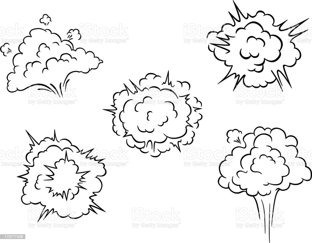 Cartoon clouds and explosions royalty-free stock vector art