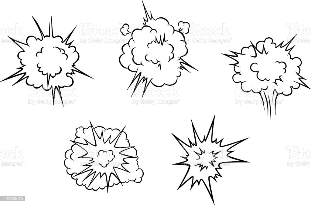 Cartoon clouds of explosion royalty-free stock vector art