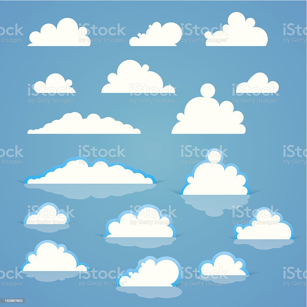 Cartoon clouds on a blue sky royalty-free stock vector art