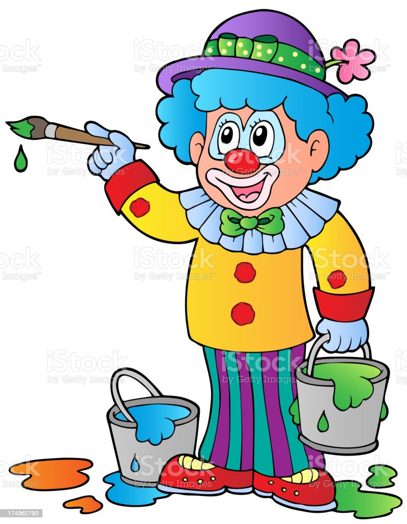 Cartoon clown artist royalty-free stock vector art