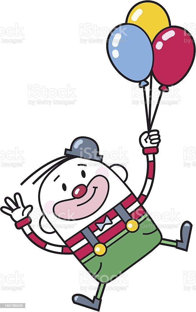 cartoon clown flies with balloons vector art illustration